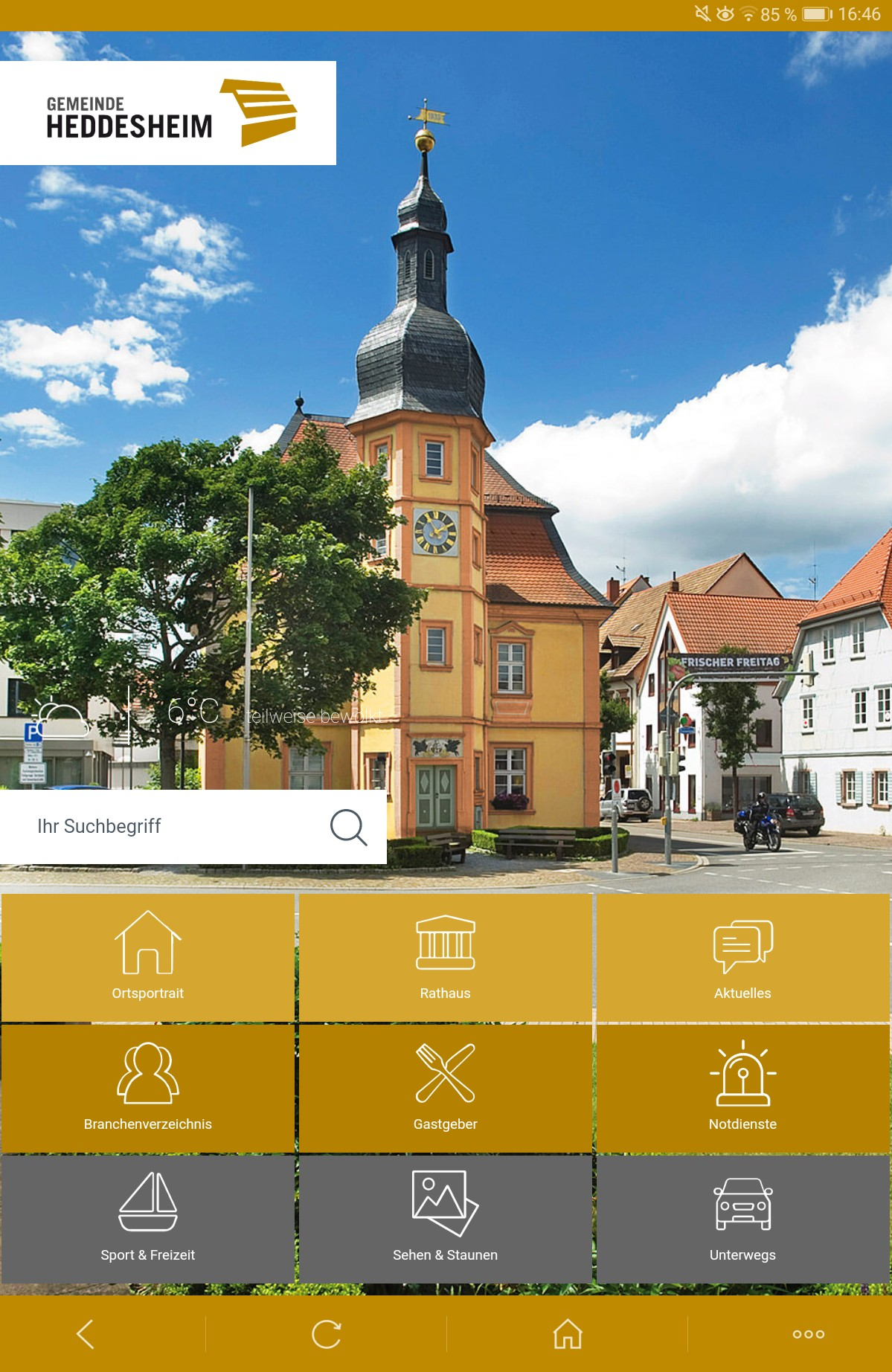 Blick auf die Startseite der Heddesheim App