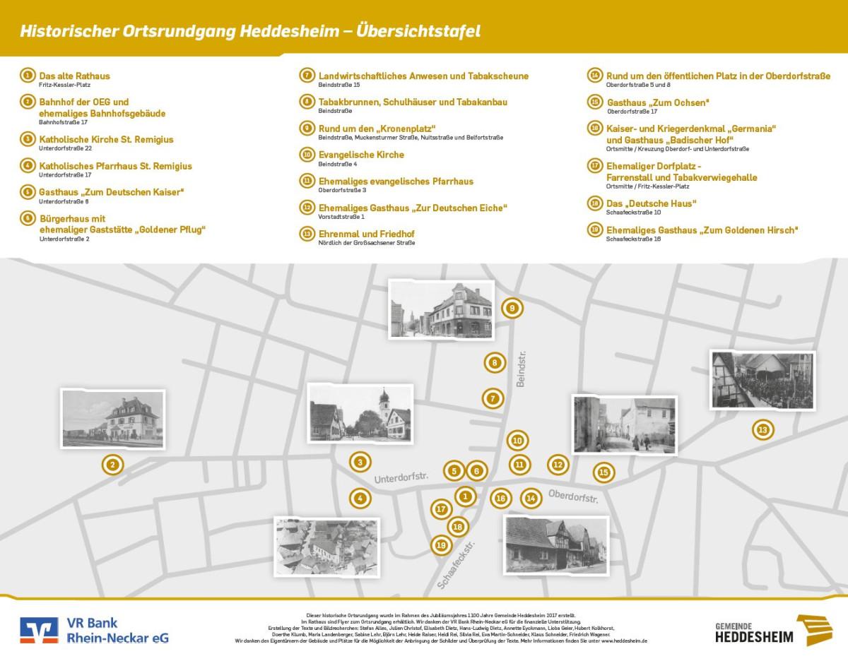 Übersichtskarte Historischer Ortsrundgang Heddesheim