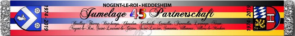 """Logo """"45 Jahre Partnerschaft Heddesheim - Nogent-le-Roi 2019"""" mit den Wappen der beiden Gemeinden"""