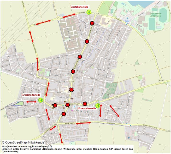 Kerwe Fahrweg und Ersatzhaltestellen Bus-Linienverkehr