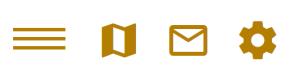 Symbole für Menü, Lage, Kontakt und Einstellungen