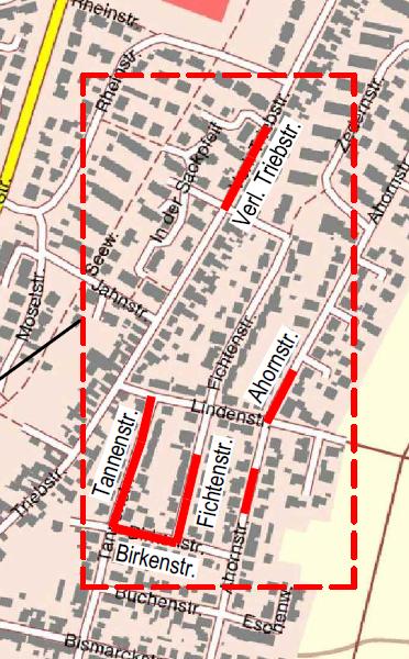 Geltungsbereich geschlossene Kanalsanierung ab August 2021